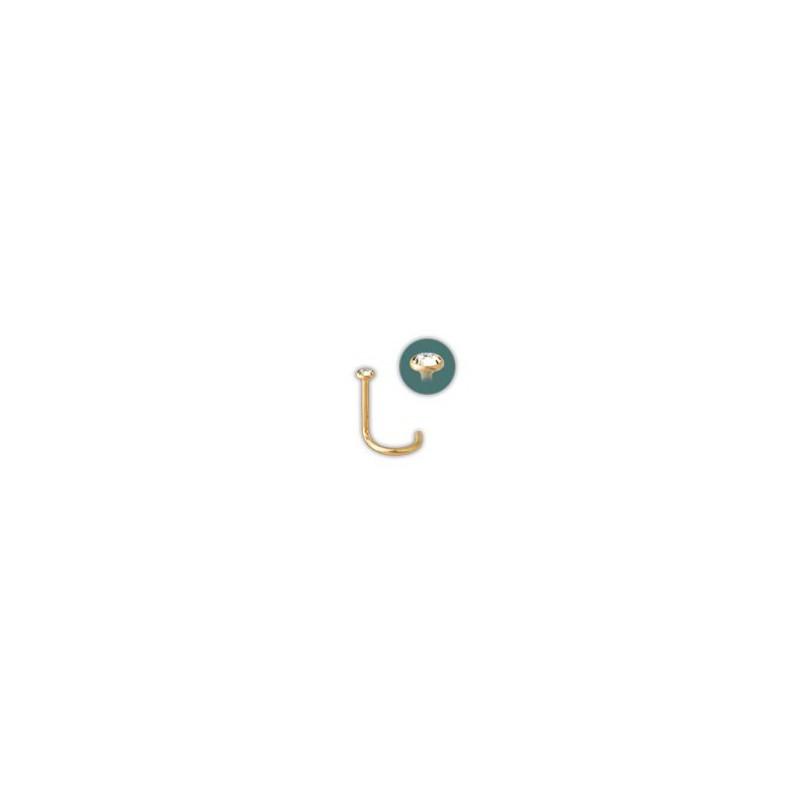 bijou piercing nez plat avec strass serti clos tige tire bouchon acier dor or fin gpjno. Black Bedroom Furniture Sets. Home Design Ideas