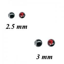 Boule acier noir avec brillant ouvert, à visser 1,2 mm BKSTJB