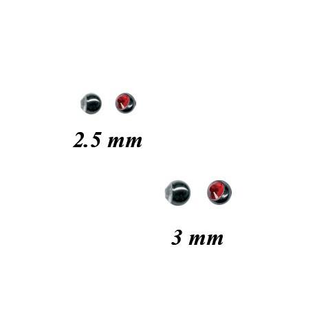 Boule acier 316L avec brillant ouvert, à visser 1,2 mm STJMB