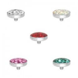 Embout disque rempli brillants pour micro dermal titane G23 Crystal Line avec strass cristal Swarovski TIADCJ2