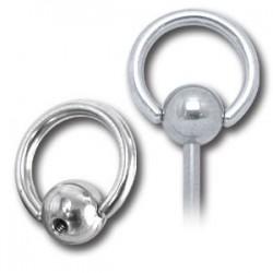 Embout anneau avec boule à clipper acier 316L, à visser 1,6 mm SLB