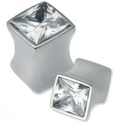 Plug carré oreille avec brillant blanc acier 316L gros diamètre TNJH