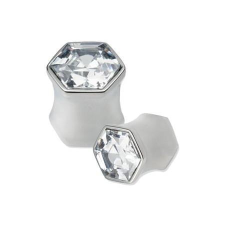 Plug hexagonal oreille avec brillant blanc acier 316L gros diamètre TNJD