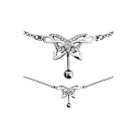 bijou nombril invers avec motif papillon et strass blanc et chaine de taille acier 316l scbch 3. Black Bedroom Furniture Sets. Home Design Ideas