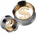 Plug incurvé avec dollar $ pour oreille acier 316L gros diamètre PL 02