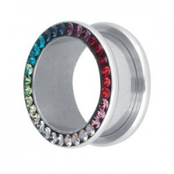 Tunnel avec strass multicolor en cristal de svarovski pour oreille acier 316L gros diamètre CJFTRN