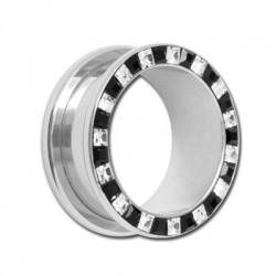 Tunnel avec brillants blanc et noir en cristal de svarovski pour oreille acier 316L gros diamètre CJFTSQ