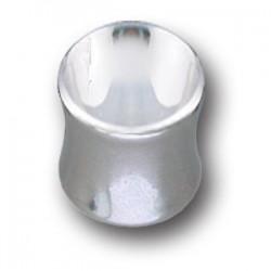 Plug incurvé avec brillant blanc pour oreille acier 316L gros diamètre FLMP