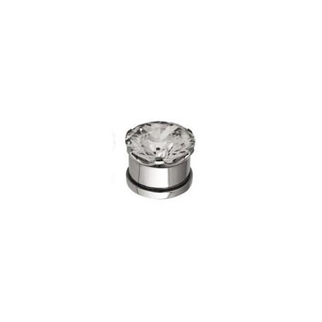 Plug avec brillant blanc pour oreille acier 316L gros diamètre SCJTN