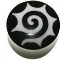 Plug incurvé spirale tribal oreille corne gros diamètre IPN 09