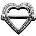 Bijou téton motif coeur avec strass blanc - barre 1,6 mm acier 316L SNS 34