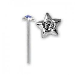 Bijou piercing nez plat avec motif étoile et strass tige tire droite argent 925 NOS 1