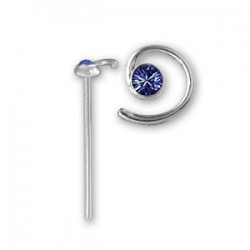 Bijou piercing nez plat avec motif spirale et strass tige tire droite argent 925 NOS 2