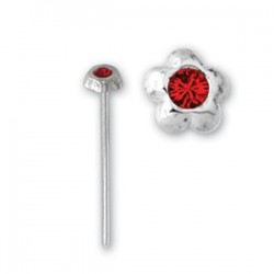 Bijou piercing nez plat avec motif fleur et strass tige tire droite argent 925 NOS 6