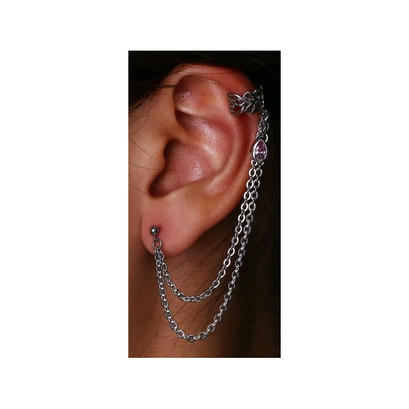 bijou bague oreille avec chaine acier 316l et strass tipt 08 catalogue bijoux piercing. Black Bedroom Furniture Sets. Home Design Ideas