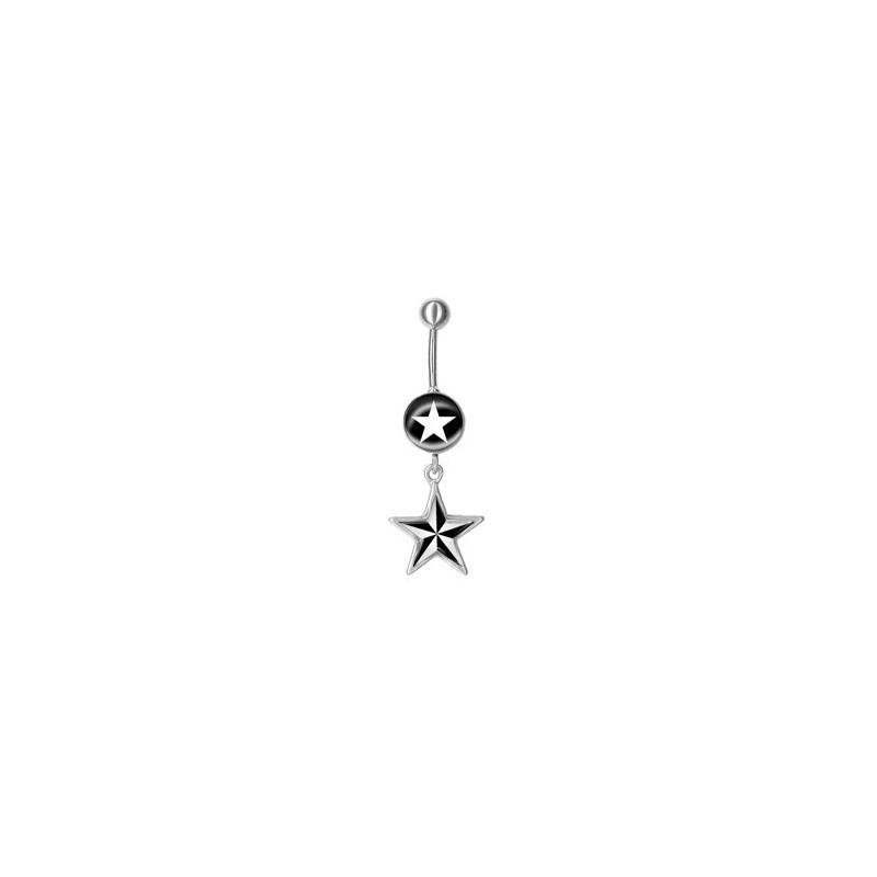 Bijoux Dessin bijou nombril pendant forme étoile et dessin étoile acier 316l