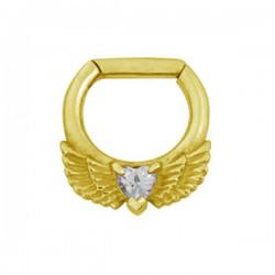 Anneau avec ailes et strass blanc pour septum acier doré or fin GPBHJ 04