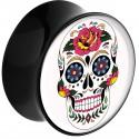 Plug incurvé avec motif tête de mort mexicaine acrylique gros diamètre PLFPG10