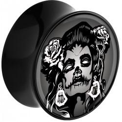 Plug incurvé avec motif tête de mort femme acrylique gros diamètre PLFPLG11