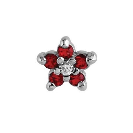 Embout fleur rouge avec 6 brillants sertis, pour micro dermal acier 316L TIAJ 05