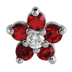 Embout fleur rouge GM avec 6 brillants sertis, pour micro dermal acier 316L TIAJ 07