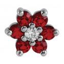 Embout fleur rouge GM avec 7 brillants sertis, pour micro dermal acier 316L TIAJ 08