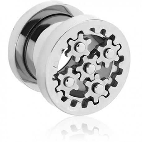 Plug avec engrenage pour oreille acier 316L gros diamètre TN 24