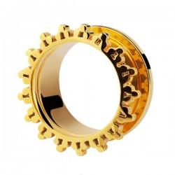 Tunnel décoratif oreille acier doré or fin gros diamètre GPTN 02