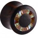 Plug pour oreille bois de rose et mosaÏque gros diamètre IPW 14