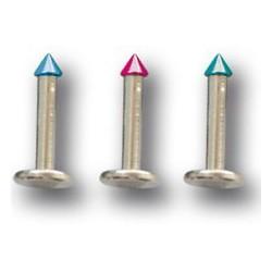 Bijou labret 1,6 mm acier 316L avec pic ou cone coloré anodisé 2 mm à visser interne INLBAC
