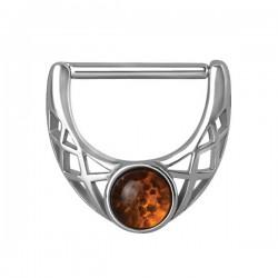 Bijou téton avec fantaisie et pierre ambre - barre 1,6 mm acier 316L SNC 01