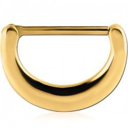 Bijou téton motif demi anneau - barre 1,6 mm acier doré or fin GPSNC 09