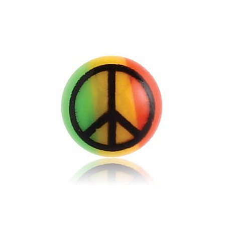 Boule acrylique couleur rasta motif peace and love, à visser 1,6 mm UDP 51