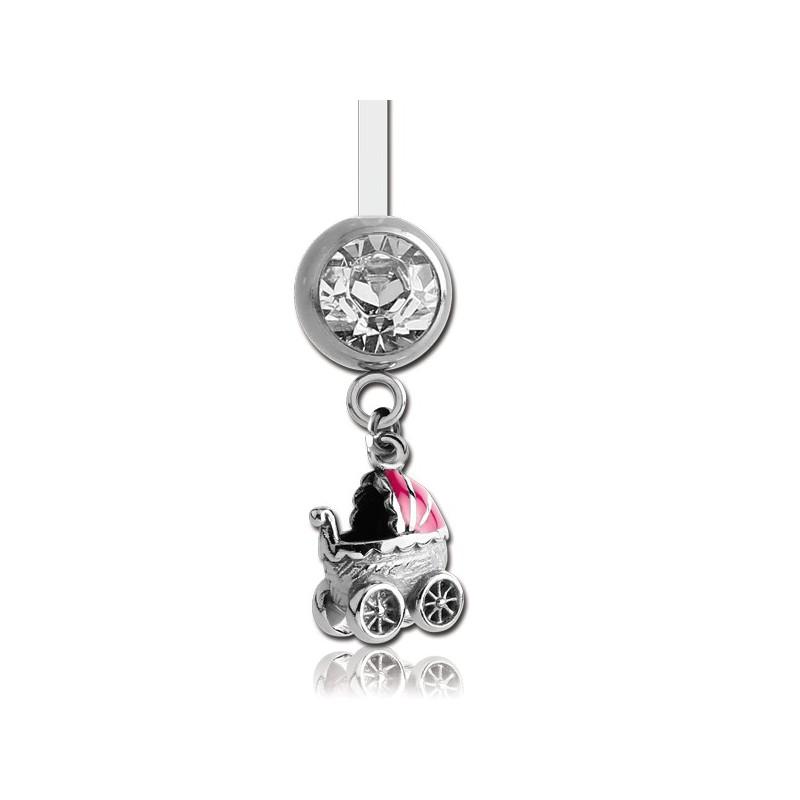 bijou nombril pour femme enceinte motif landeau poussette rose acier 316l barre ptfe fpbn 9. Black Bedroom Furniture Sets. Home Design Ideas