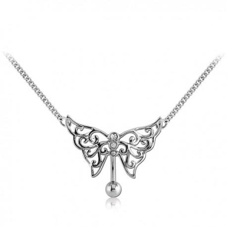 bijou nombril invers avec motif papillon celtique et strass blanc et chaine de taille acier. Black Bedroom Furniture Sets. Home Design Ideas