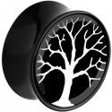 Plug incurvé avec motif arbre de vie acrylique gros diamètre PLFPLG14