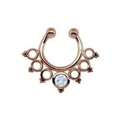 Faux septum anneau avec mini-anneaux et mini-boules dont un brillant sur l'anneau du milieu chirurgical or rose FSR 10