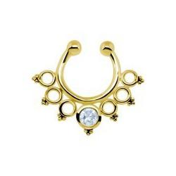 Faux septum anneau avec mini-anneaux et mini-boules dont un brillant sur l'anneau du milieu chirurgical doré or fin FSG 10