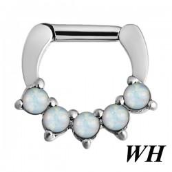Anneau avec 5 boules d'opale bleues claires pour septum acier BHJ 07 WH