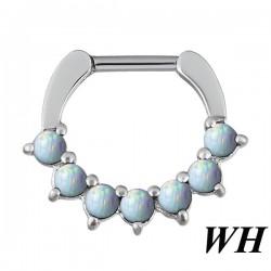 Anneau avec 7 boules d'opale bleues claires pour septum acier BHJ 08 WH
