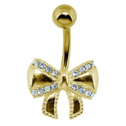 Bijou nombril acier doré or fin noeud papillon avec strass blancs GPBN 27
