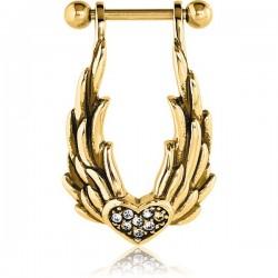 Bijou pour l'oreille acier doré or fin pendant, motif ailes avec coeur strass blanc TIP 202