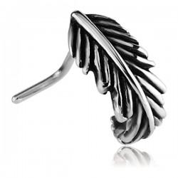 Bijou piercing nez demi anneau motif plume tige pliée acier 316L NON 01