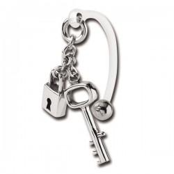 Barre bioflex avec cadena et clé pendant acier 316L pour bijou intime XMBN 08