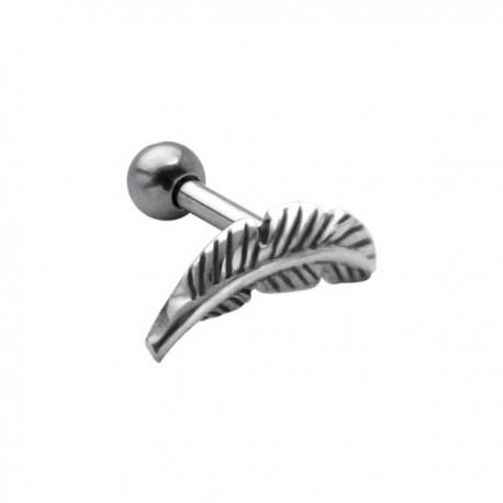 Bijou pour l'oreille acier 316L motif plume TIP 276