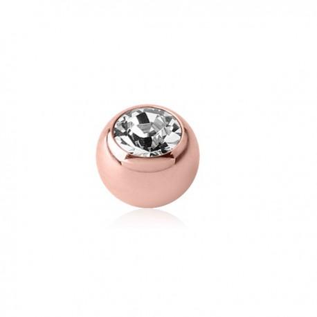 Boule acier doré or rose avec brillant blanc, à visser 1,2 mm ORJMB