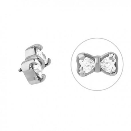 Noeud papillon avec 2 brillants blancs sertis acier 316L, pour barre 1,2 mm avec pas de vis interne 0,8 mm INSCJ 11
