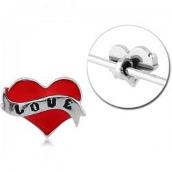 Accessoire coeur rouge pour bijou pour industriel en acier 316L INDR 20