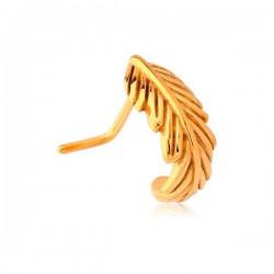Bijou piercing nez demi anneau motif plume tige pliée acier doré or fin GPNON 01