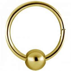 Anneau fermé avec segment à clip et boule acier doré or fin GPBHBCR